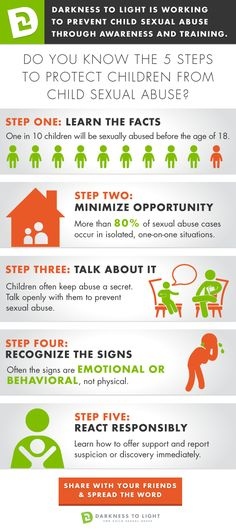 Looking for information to share with family and friends about child sexual abuse prevention? Start with the 5 Steps to Protecting Our Children™! Share this graphic with your social media circles and learn more at www.D2L.org.