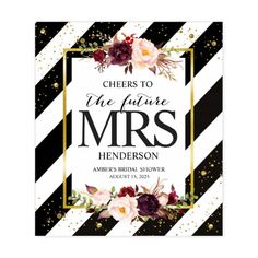 Custom Cheers To The Future Mrs Bridal Shower Wine Labels. Featuring pink and marsala watercolor flowers and gold confetti against an elegant black and white stripe background