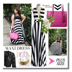 """Hot Plus Size Trend: Maxi Dress Stripes & Hot pink"" by icedoll ❤ liked on Polyvore featuring MICHAEL Michael Kors, Chicwish, GUESS, VILA, maxidress and plussize"