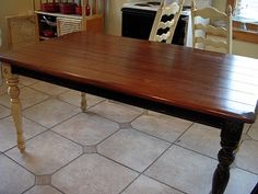 give you kitchen table a makeover..just did this on my coffee table, top only. Did three coats of satin Polyurethane after the staining and it looks FABULOUS! Can't believe I waited so long. Barely used any of the stain or poly to do it, so looks like I have plenty left for lots more staining projects!