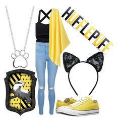 """""""HufflePuff"""" by indianna28-2002 ❤ liked on Polyvore featuring New Look, Converse, Maison Close and Unwritten"""