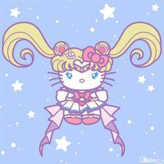 Sailor Moon Hello Kitty Anime Poster Art Print by MischyArt Sailor Moon Crystal, Sanrio Hello Kitty, Princesas Disney Dark, Hello Kitty Imagenes, Desu Desu, My Melody Sanrio, Hello Kitty Tattoos, Hello Kitty Pictures, Hello Kitty Birthday