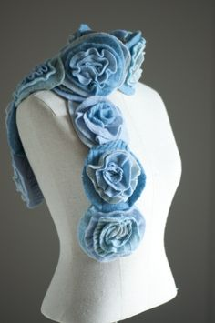 Felted sweaters into ruffled rose scarf