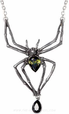 'Emerald Venom' spider necklace by Alchemy Gothic, with Swarovski crystals.