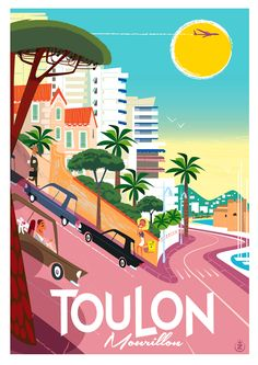 Toulon - Retro style Travel Poster Monsieur Z Tourism Poster, Poster Ads, Vintage Advertisements, Vintage Ads, Photo Vintage, Vintage Travel Posters, Graphic Illustration, Illustrations Posters, Illustrators
