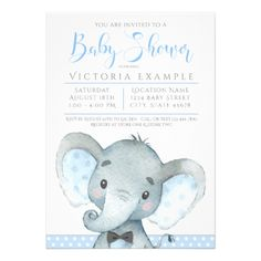Elephant baby shower invitationelephant with flowers elephant boys cute elephant baby shower invitations filmwisefo