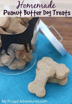Easy, inexpensive and all natural homemade peanut butter dog treats! My kids love making these for our dog and they can be a wonderful homemade gift idea!