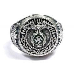 NSDAP SA sterling silver ring - German rings and other Nazi awards