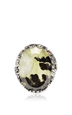 Moss agate ring, diamond and sapphire ring by BOCHIC for Preorder on Moda Operandi