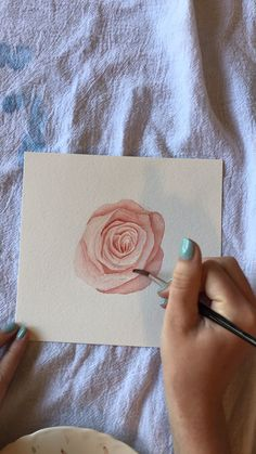 Simple art Christmas Ornament is part of Simple Easy Christmas String Art Ornaments For Kids - Watercolor Rose Tutorial Watercolor Video, Watercolor Rose, Watercolor Wedding, Watercolor Sunset, Watercolor Sunflower, Painting & Drawing, Watercolor Paintings, Watercolor Painting Tutorials, Drawing Drawing