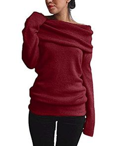 Styledome Women Off Shoulder Cowl Neck Long Sleeve Sweater Knitted Pullover Jumper Tops: Amazon.co.uk: Clothing