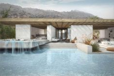 The main intention of the architectural design was to create a house that embraces the natural element of the hill. The floor plan wasformed around an existing olive tree of the estate.