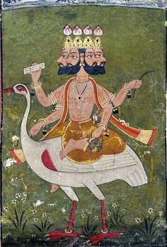 Brahmā is the Hindu god. According to the Brahmā Purāņa, he is the father of Manu, and from Manu all human beings are descended. In the Rāmāyaņa and the Mahābhārata, he is often referred to as the progenitor or great grandsire of all human beings. He is not to be confused with the Supreme Cosmic Spirit in Hindu Vedānta philosophy known as Brahman, which is genderless.