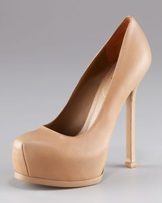 """""""Tribtoo"""" platform pump in nude beige with 4.25"""" heel & closed toe from Yves Saint Laurent."""