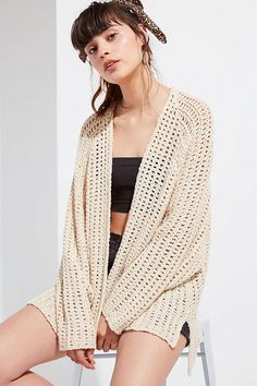 Shop UO Danny Waffle Knit Cardigan at Urban Outfitters today. Summer Knitting, Waffle Knit, Cardigans For Women, Knit Cardigan, Waffles, Urban Outfitters, Fitness Models, My Style, Long Sleeve