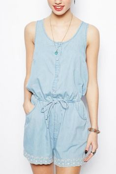 Denim romper. -I need me some of these
