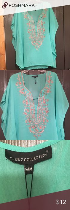 Turquoise Swim Suit Cover Up Turquoise & Gold swim suit cover up. Would be cute worn as a shirt with leggins. Runs a little big. Worn once Swim Coverups