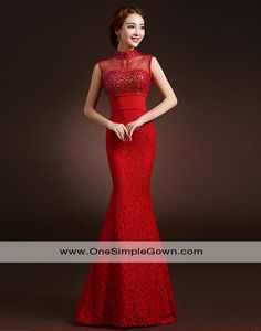 Sequins Beading Lace Red Evening Dress