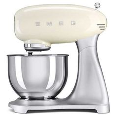 Smeg 50S Retro Style Five-Quart Stand Mixer ($460) ❤ liked on Polyvore featuring home, kitchen & dining, small appliances, cream and smeg