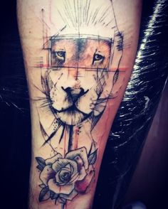 #lionking #tattoolion #redrose