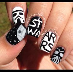 "Star Wars nail art! Semi inspired by ""Sincerely Stephanie"". Star Wars nails. Death Star. Storm Trooper nail art. Darth Vader nail art."