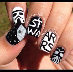 "Star Wars nail art! Semi inspired by ""Sincerely Stephanie"". Star Wars nails. Death Star. Storm Trooper nail art. Darth Vader nail art."