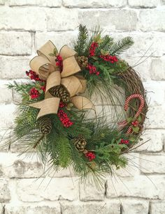 Candy Cane Christmas Wreath for Door, Winter Wreath, Christmas Decor, Holiday Wreath, Holiday Decor, Silk Wreath, Grapevine Wreath, Outdoor