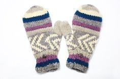 NG商品 限量一件針織純羊毛保暖手套 / 2ways手套 / 露趾手套 / 內刷毛手套 / 針織手套 - 混色東歐民族圖騰