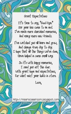 Miss R's Room: End of Year Letters