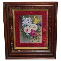 Breathtaking FRAMED  HAND PAINTED Porcelain Plaque~ Museum Quality Masterpiece  Still Life Painting on Porcelain of ROSES & Other FLOWERS ~ 1870's ANTIQUE WALNUT FRAME ~ Magnificent Piece of Fine Art ~ Collector Piece ~ Master Artistry