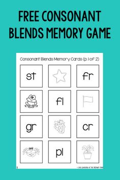 Download this FREE consonant blends memory game - perfect for Kindergarten! Make sure to read the entire post and download the parent directions so you can send this home as homework.