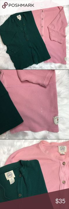 Victorias Secret Country Henley Bundle Size M Victoria's Secret Country pink waffle henley button down dress. Like new condition aside from a small bleach stain on the bottom left (pictured). 100% cotton.  & Size M Victoria's Secret Country green waffle button down henley. Like new condition. 100% cotton. Victoria's Secret Intimates & Sleepwear Pajamas