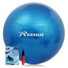 Reehut AntiBurst Core Exercise Ball for Yoga Balance Workout Fitness w Pump Blue 55CM * Read more  at the image link. (Note:Amazon affiliate link)