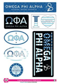 """Get your """"Greek On"""" with these high quality, American stickers! Each sheet contains 7 stickers ranging in size from a 2"""" circle to a generous 6.5""""x3"""" rectangle. Printed on sturdy vinyl, they are easil"""