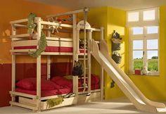 Kinderzimmer, Ideen Für Kinderzimmer Jungen, Kinderzimmer (jungen), Etagenbetten  Für Kinder, Etagenbett Mit Rutsche, Dreifache Etagenbetten, Coole Ideen, ...