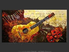 """Romantic Guitar"" - Original Music Art by Lena Karpinsky, http://www.artbylena.com/original-painting/20616/romantic-guitar.html"