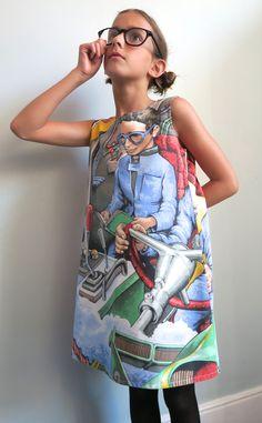Upcycled Thunderbirds fabric pinafore dresses