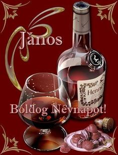 Happy Name Day, Alcoholic Drinks, Happy Birthday, Red Wine, Bottle, Glass, Birthday, Happy Brithday, Drinkware