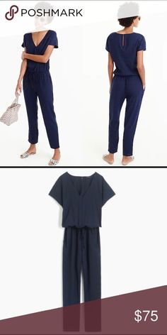 350076854b NWT J. Crew Navy Relaxed Jumpsuit Tencel Linen XS Brand new with tags never  worn
