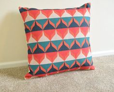 Teal/Orange Retro/Geometric/Scandi Print Cotton Linen Cushion/Pillow Cover 18 x 18""