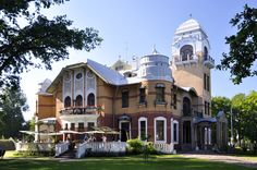 Villa Ammende, Parnu, Estonia. Villa Ammende is one of the best examples of early art nouveau style in Estonia. The grand villa with a large garden was built in 1905 and belonged to the Ammende merchant family. The villa has been restored and turned into a luxurious hotel and restaurant.