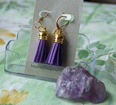 Purple Bohemian Tassel Earrings Gold Cap by Tassel Earrings, Silver Earrings, Dangle Earrings, Jewelry Shop, Jewelry Design, Jewellery, Bohemian Style Jewelry, Gold Caps, Leather Tassel
