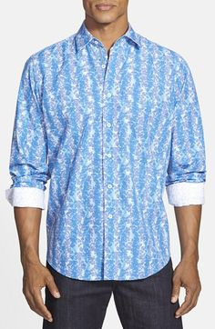 Bugatchi Shaped Fit Floral Print Sport Shirt available at #Nordstrom