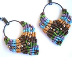 Macrame earrings/Hoop earrings/Macrame jewelry/Hippie earrings/Bohemian earrings/Micromacrame