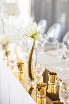 Samantha and Blake's Modern Wedding By The River | love the gold/brass + other metallics color palette