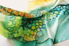 """Image of """"Grass beads"""" hand-painted silk scarf by Asta Masiulyte"""