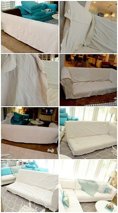 dropcloth slipcover DIY tutorial I'm doing this with our couches since I can't find slipcovers to fit! Furniture Makeover, Diy Furniture, Furniture Covers, Furniture Outlet, Discount Furniture, Luxury Furniture, Modern Furniture, Furniture Design, Canapé Diy