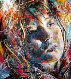 Talented UK artist David Walker created these beautiful vibrant female portraits. No stencils, No brushes, just David and his spray cans.