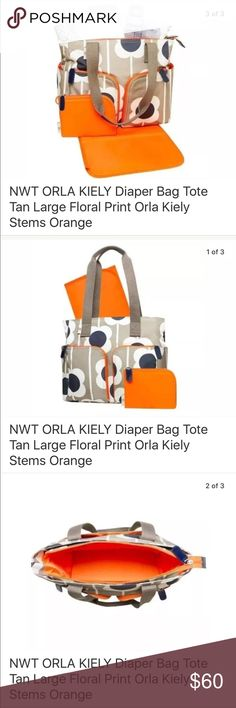 "NWT Orla Keily Stems Diaper Bag Rare diaper bag from Orla Keily. New with tags. Listing is for diaper bag only (photo props not included) 13"" x 14"" x 6"". Five outside pockets include 2 with zippers, 2 bottle pockets, large diaper pocket. 5 interior pockets, changing pad, zippered purse. Orla Keily Bags Baby Bags"