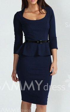 $14.06 Belt Beam Waist Packet Buttock Flounces Polyester Solid Color Sexy Peplum Dress For Women